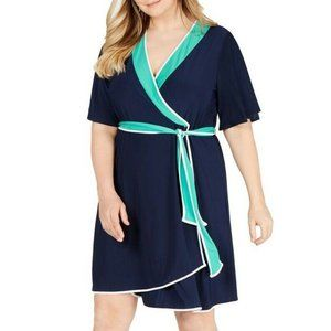 NY Collection 2XP Navy Blue Eilat Dress NWT AR28